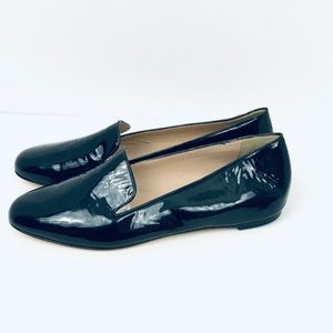J Crew Black patent Loafer flats sz 7